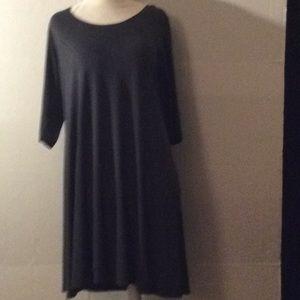 Eileen Fisher dark gray silk shift dress # S P